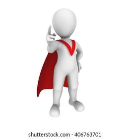 3d super hero with red cape. Order. 3d illustration