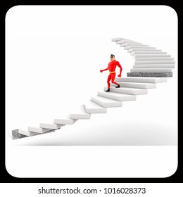 3d superhero climb stairs concept on white background,  side