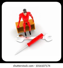 3d superhero confused with scattered tools concept on white background, top angle view