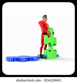 3d superhero  holding piece of puzzle concept on white background, side angle view
