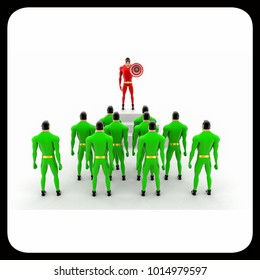 3d superhero  leader giving speech to group of superhero s concept on white background, front angle view