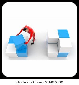 3d superhero  rearrange cubes concept on white background,  top angle view