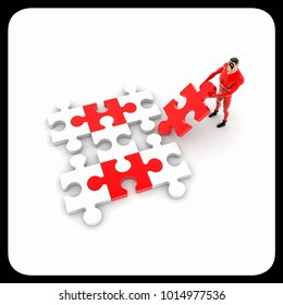 3d superhero  solving puzzle concept on white background,  top angle view