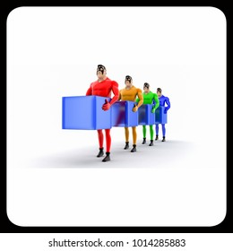 3d superheros in queue and holding square cubes concept on white background, front angle view