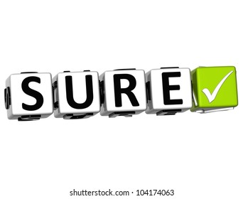 3D Sure Button Click Here Block Text over white background