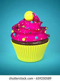 3d sweet cupcake with sprinkles over blue background