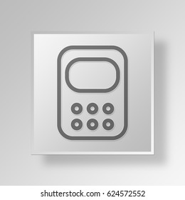 3D Symbol Gray Square Calculator icon Business Concept