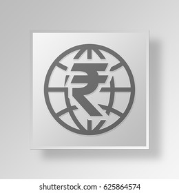 3D Symbol Gray Square Indian Rupee icon Business Concept