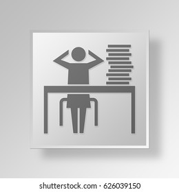 3D Symbol Gray Square office work icon Business Concept