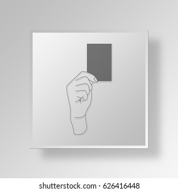 3D Symbol Gray Square red card icon Business Concept