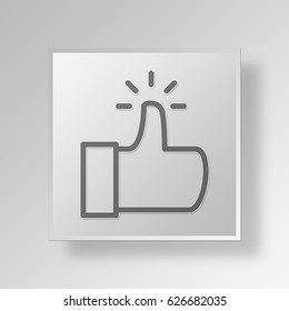 3D Symbol Gray Square thumbs up icon Business Concept