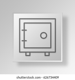 3D Symbol Gray Square vault icon Business Concept