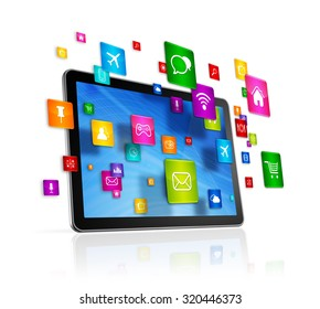 3D Tablet PC with flying apps icons - isolated on white