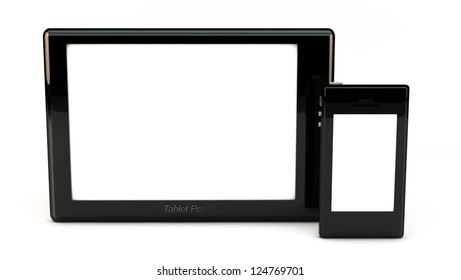 3d tablet pc and phone on white background