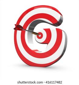 3d Target arrow letter  alphabet. 3D render, 3D illustration