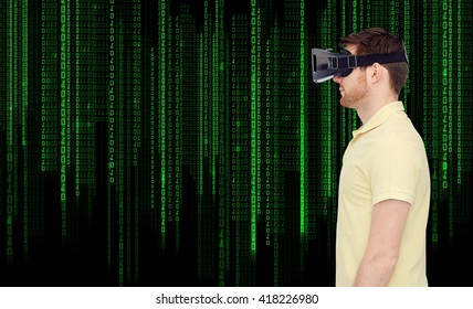 3d technology, virtual reality, entertainment and people concept - young man with virtual reality headset or 3d glasses over binary system code background
