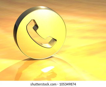 3D Telephone Handset Gold Sign over yellow background
