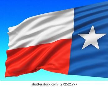 3D. Texas State Flag, Texas, Banner.