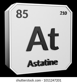3d text of Chemical Element Astatine, its atomic weight, periodic number, and symbol on shiny metal geometry with a black background. This image is a 3d render.