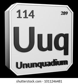 3d text of chemical element ununquadium its atomic weight periodic number and symbol - Periodic Table Symbol Ununquadium