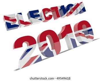 3d text election 2010 with union flag texture