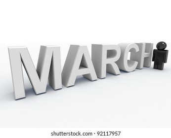 3d text and a man