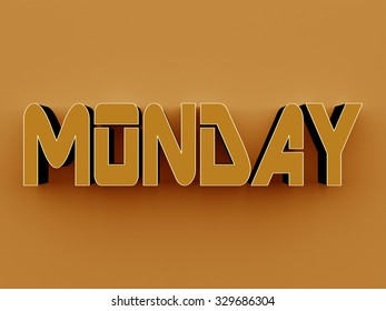 3D Text - Monday on yellow background