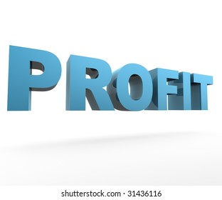 3D Text Profit floating on white background
