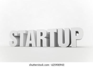 3d text in a studio with the word 'startup'. 3d Illustration