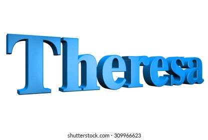 3D Theresa text on white background