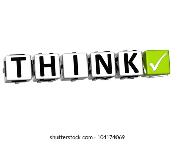 3D Think Button Click Here Block Text over white background