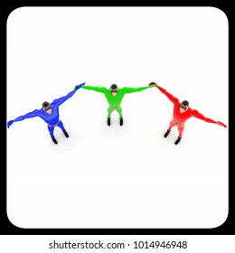 3d three pneguins happy and hands up concept on white background, top angle view