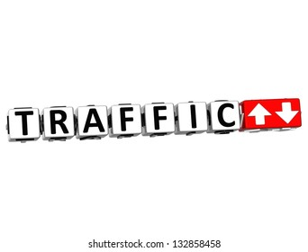 3D Traffic Button Click Here Block Text over white background