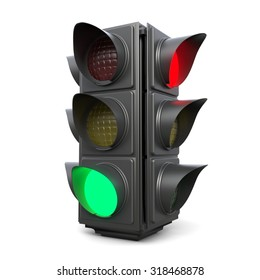 3d traffic lights isolated on white background