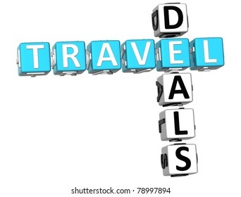 3D Travel Deals Crossword on white background