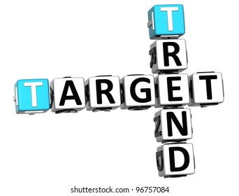3D Trend Target Crossword cube words on white background
