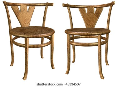 3d two antique wooden chairs isolated on white background