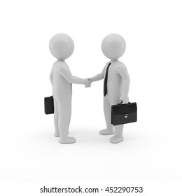 3d two business men handshake on white background, Agreement isolated image