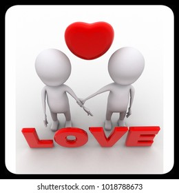 3d two character with love text and heart and holding hands concept on white background - 3d rendering , top angle view