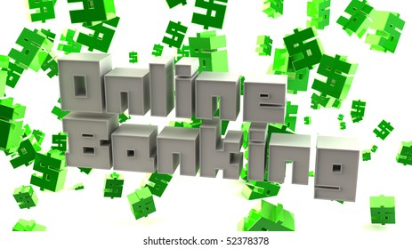 "3D Typographic render of the words ""Online Banking"""