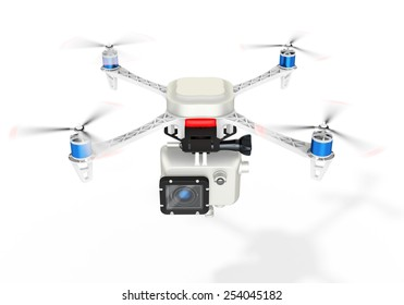 3d UAV drone with a camera on white background