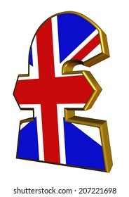 A 3D UK pound sign with Union Jack design for use as a design element
