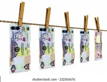 3D United Arab of Emirates money laundry on isolated white background