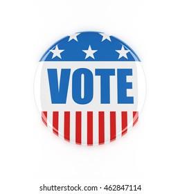 3d usa vote button on white background