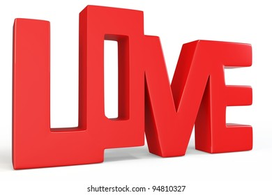 3d valentine's day love text on white background