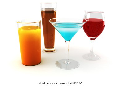 3d various drinks, on white background