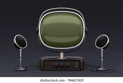 3D Vintage old looking TV set with speakers on dark background. Can be used for place some image or video on display.