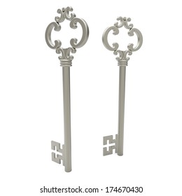 3d vintage silver key on white background
