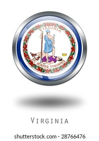 3D Virginia Flag button illustration on a white background
