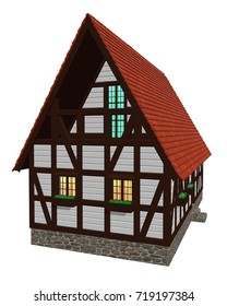 3d visualisation of wooden two-storey rural house in old German style isolated on white background.